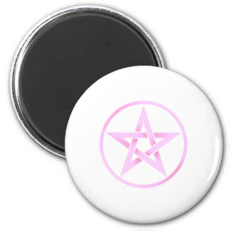 pink pentacle 2 inch round magnet