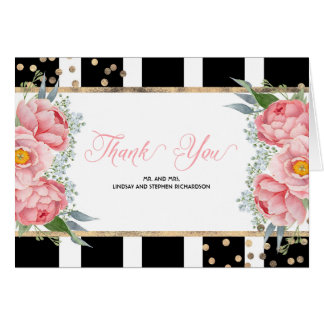 Pink Peonies and Black Stripes Elegant Thank You Card
