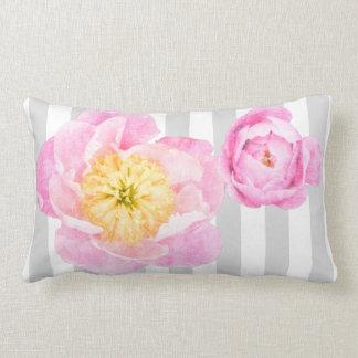 Pink Peonies and Gray Stripes Monogram Lumbar Pillow