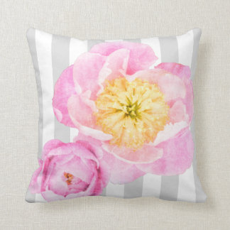 Pink Peonies and Gray Stripes Monogram Throw Pillow