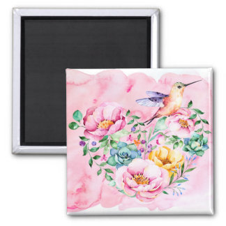 Pink Peonies and Hummingbird Heart Square Magnet