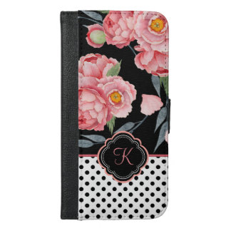 Pink Peonies and Polka Dots with Your Monogram iPhone 6/6s Plus Wallet Case