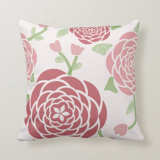 Pink Peonies and Watercolor Floral Throw Pillow
