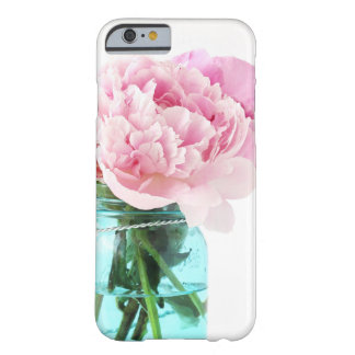 Pink Peonies Blue Mason Jar Barely There iPhone 6 Case