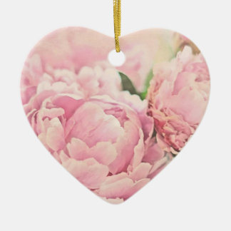 Pink Peonies Ceramic Ornament