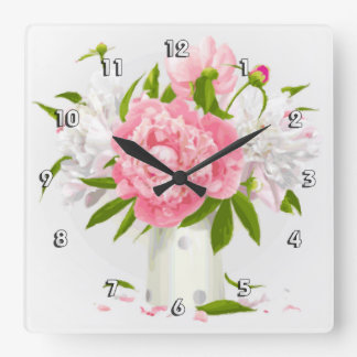 Pink Peonies Fine Floral Square Wall Clock
