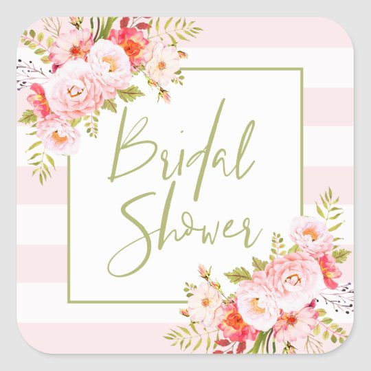 Pink Peonies Floral Bridal Shower Sticker