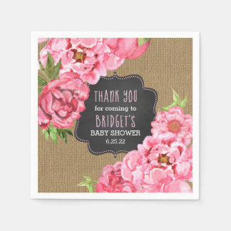 Pink Peonies floral burlap baby shower decor Disposable Napkins