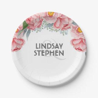 Pink Peonies Floral Elegant Wedding Paper Plate