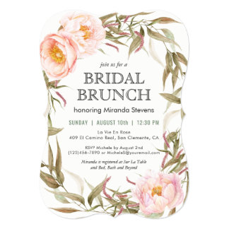 Pink Peonies Floral Wreath Bridal Brunch Card