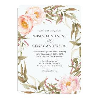 Pink Peonies Floral Wreath Wedding Card