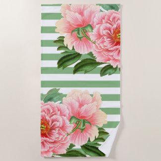 Pink Peonies Green Stripes Beach Towel