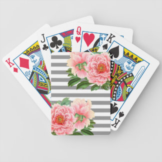 Pink peonies grey lines bicycle playing cards