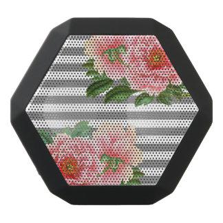 Pink peonies grey lines black bluetooth speaker
