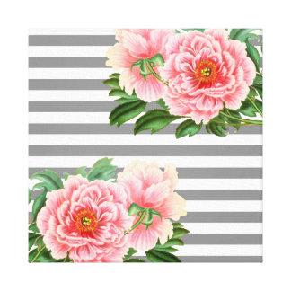 Pink peonies grey lines canvas print
