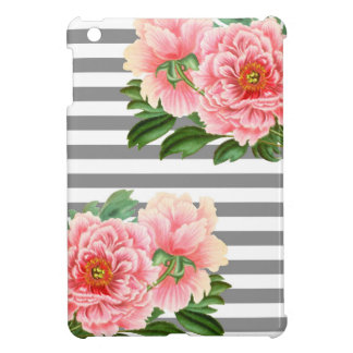 Pink peonies grey lines case for the iPad mini
