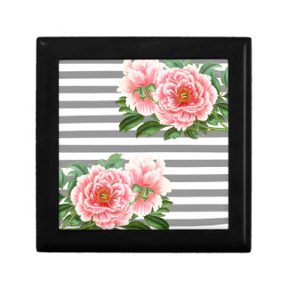Pink peonies grey lines gift box