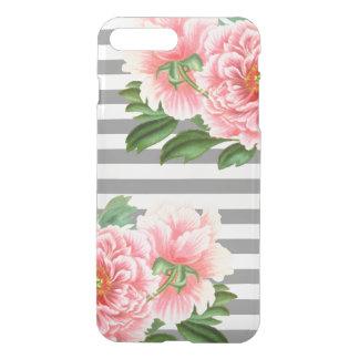 Pink peonies grey lines iPhone 8 plus/7 plus case