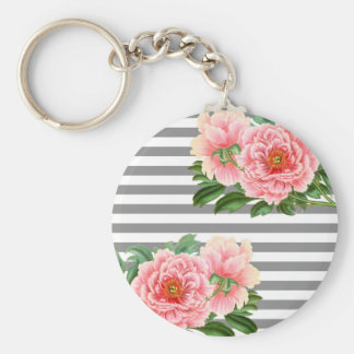 Pink peonies grey lines keychain