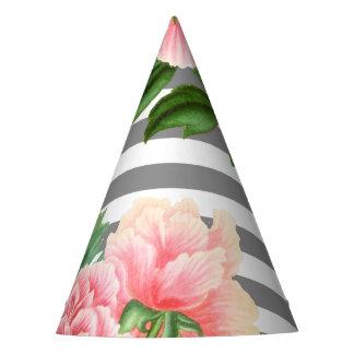 Pink peonies grey lines party hat
