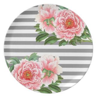 Pink peonies grey lines plate