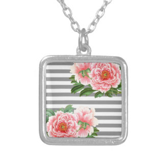 Pink peonies grey lines silver plated necklace