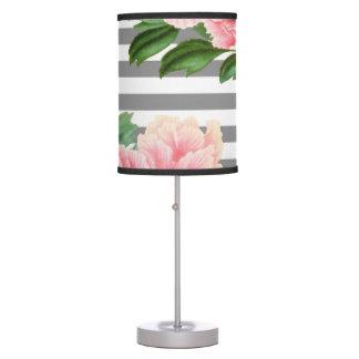 Pink peonies grey lines table lamp