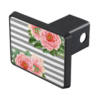 Pink peonies grey lines trailer hitch cover