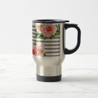 Pink peonies grey lines travel mug