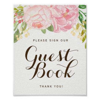 Pink Peonies Guest Book Sign (8x10)