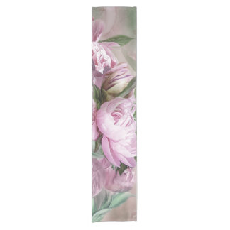 Pink Peonies In Peony Vase 2 Art Table Runner