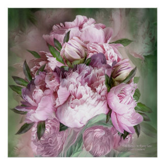 Pink Peonies In Peony Vase - Sq-Art Poster/Print