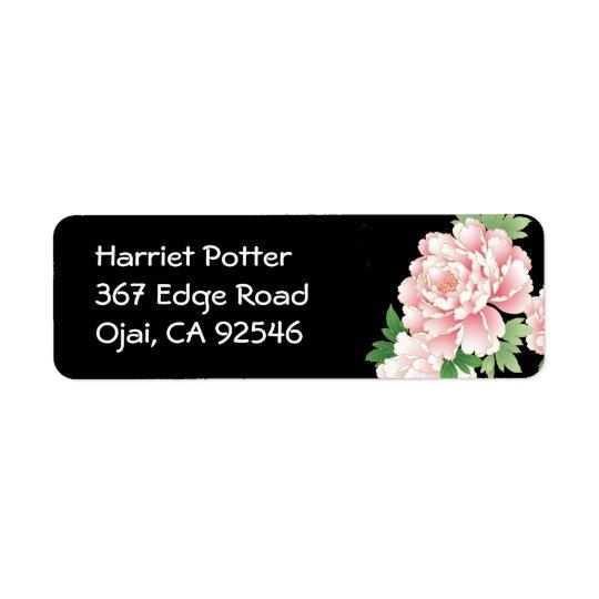 Pink Peonies Japanese Floral Kimono Return Address Label