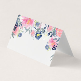 Pink Peonies Navy Blue Elements Place Cards