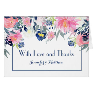 Pink Peonies Navy Blue Elements Thank You Card