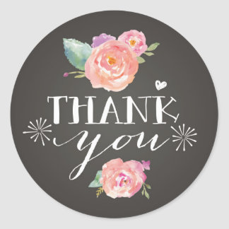 Pink Peonies on Chalkboard Thank You Stickers