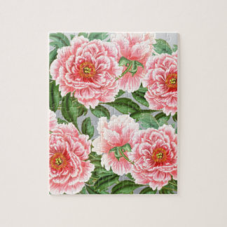 Pink Peonies On Grey Jigsaw Puzzle