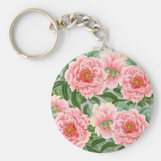 Pink Peonies On Grey Keychain