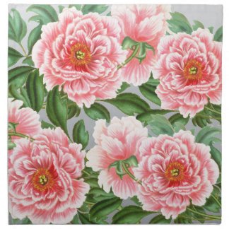 Pink Peonies On Grey Napkin