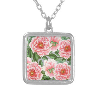 Pink Peonies On Grey Silver Plated Necklace