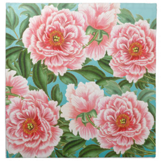 Pink Peonies On teal Napkin