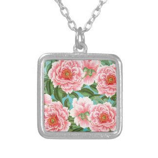 Pink Peonies On teal Silver Plated Necklace