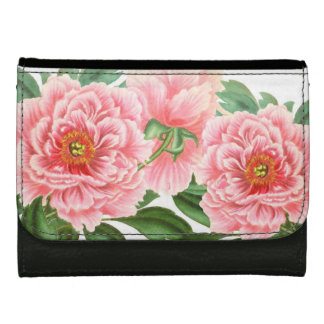 Pink Peonies on White Leather Wallet For Women