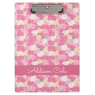 Pink Peonies Pattern #1 with Pink Faux Leather Clipboard
