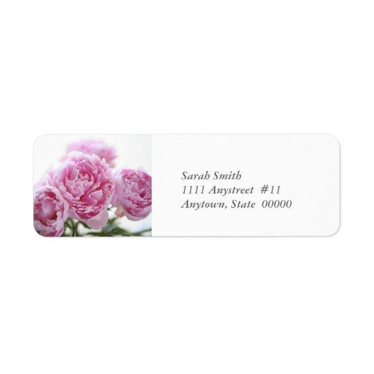 pink peonies return label