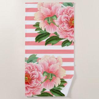 Pink Peonies Salmon Stripes Beach Towel