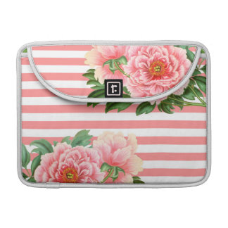 Pink Peonies Salmon Stripes Sleeve For MacBook Pro