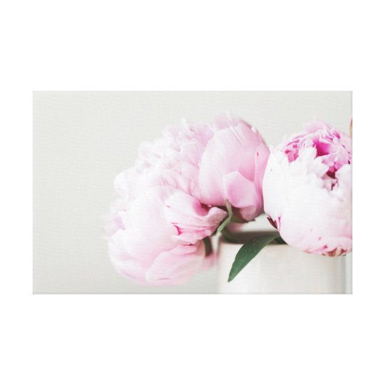 Pink peonies spring themed design canvas print