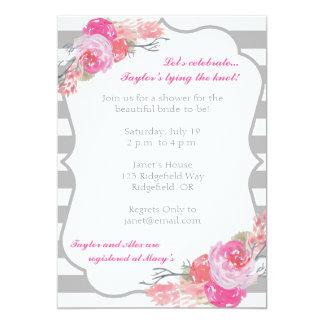 Pink Peonies Striped Invitation