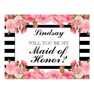 Pink Peonies & Stripes | Maid of Honor Postcard